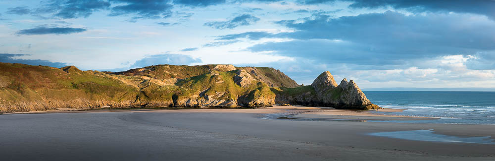 End of the day at Three Cliffs Bay, Gower Peninsula